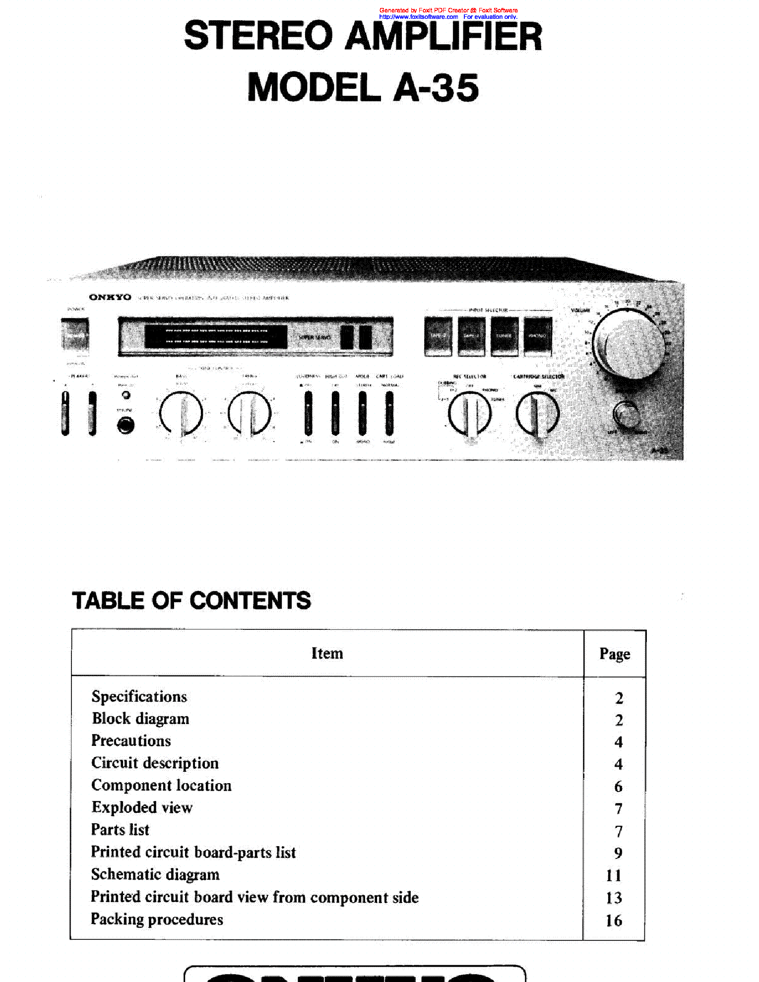 Onkyo A 35 Sm Service Manual Download Schematics Eeprom Repair Electronic Circuit Board Pdf 1st Page