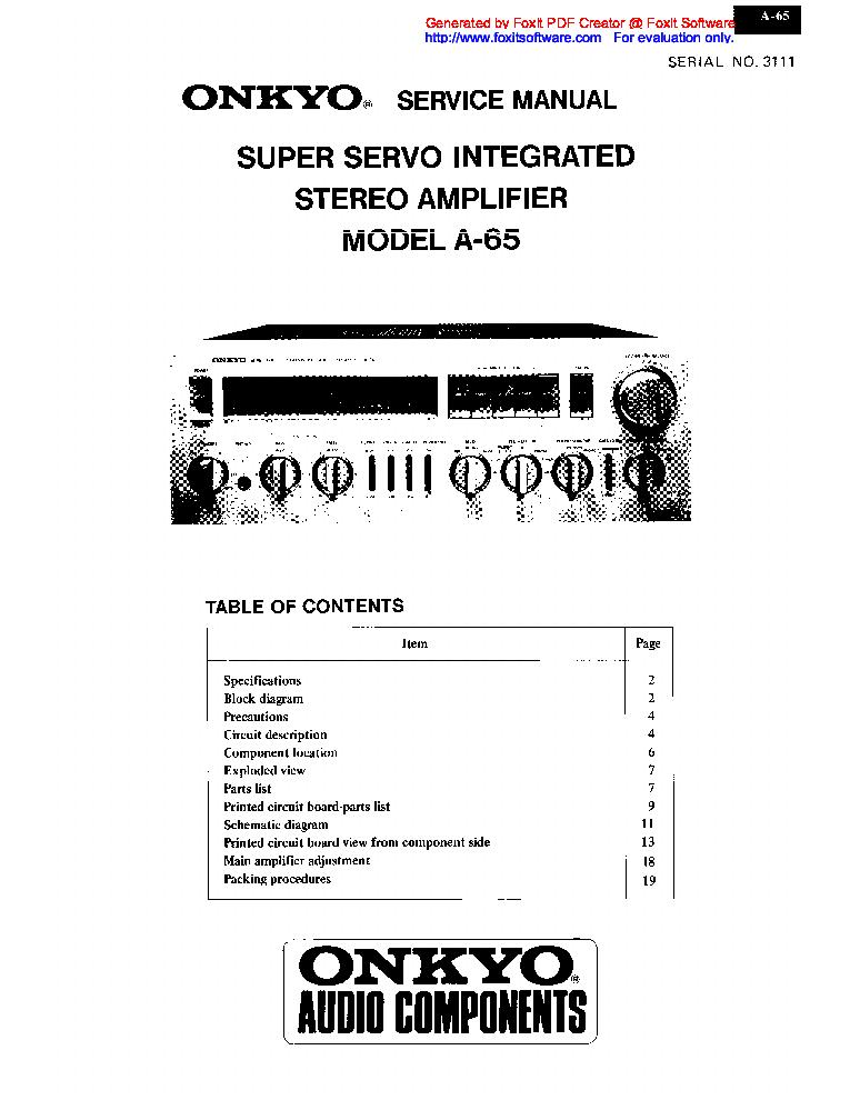 Onkyo A 5vl B S Sm Service Manual Free Download