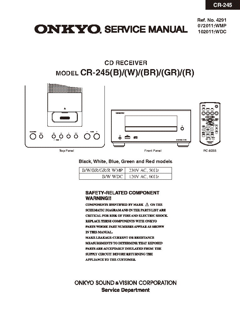 ONKYO CR-245 SM PARTS REV1 Service Manual download, schematics