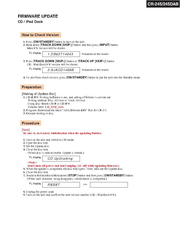 ONKYO CR-245 SM PARTS REV1 Service Manual download, schematics