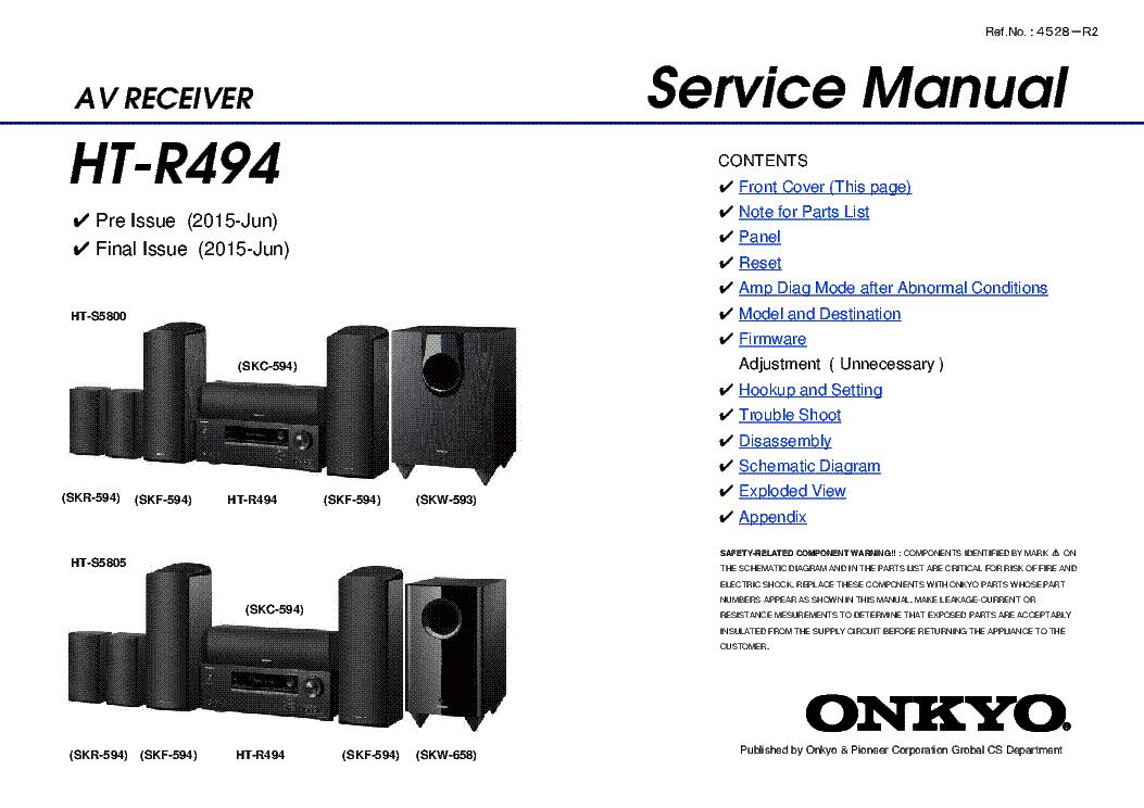 ONKYO HT-R494 REV.2 SM Service Manual download, schematics, eeprom, repair  info for electronics expertsElektrotanya