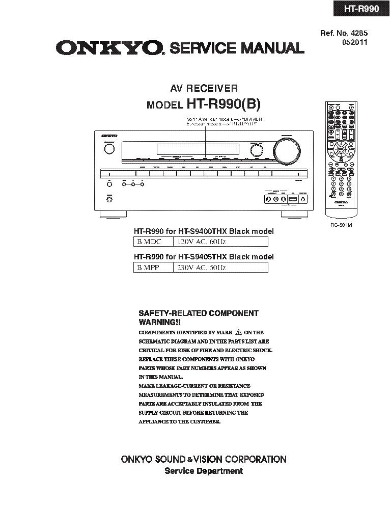 Onkyo ht r990 manual