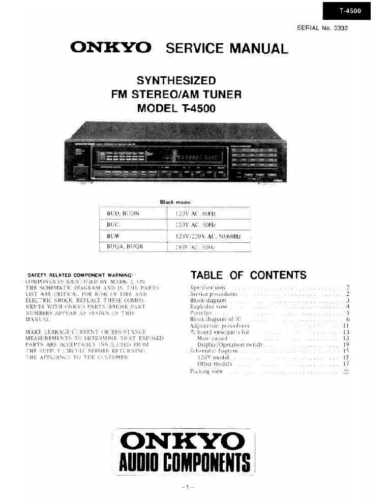 ONKYO T-4500 Service Manual download, schematics, eeprom