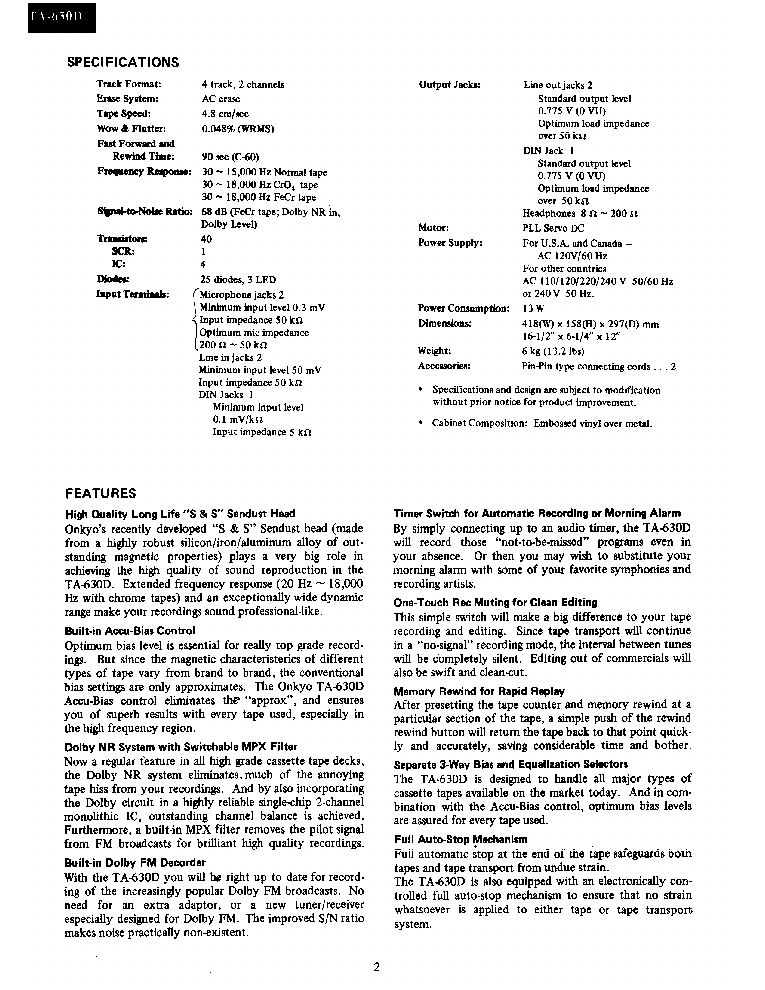 ONKYO TA-630-D service manual (2nd page)