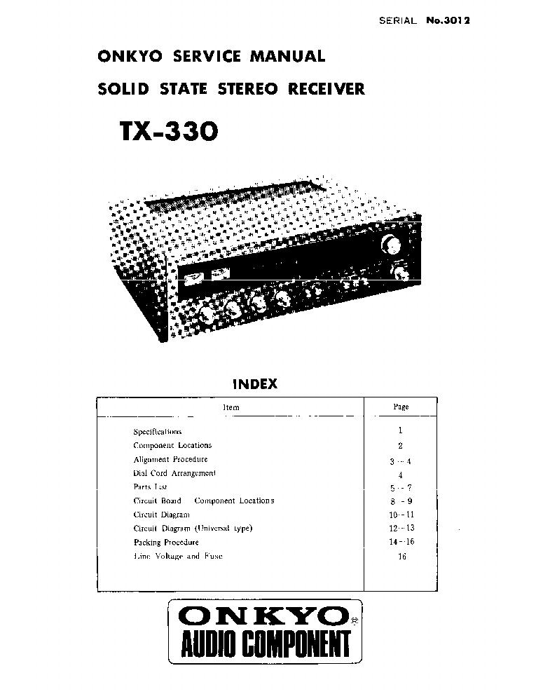 ONKYO TX-330-SM-RECEIVER Service Manual download, schematics, eeprom