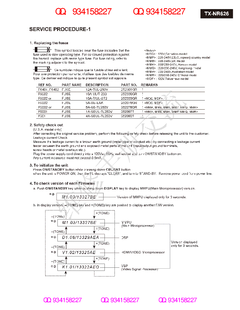 ONKYO TX-NR626 SM REV3 Service Manual download, schematics