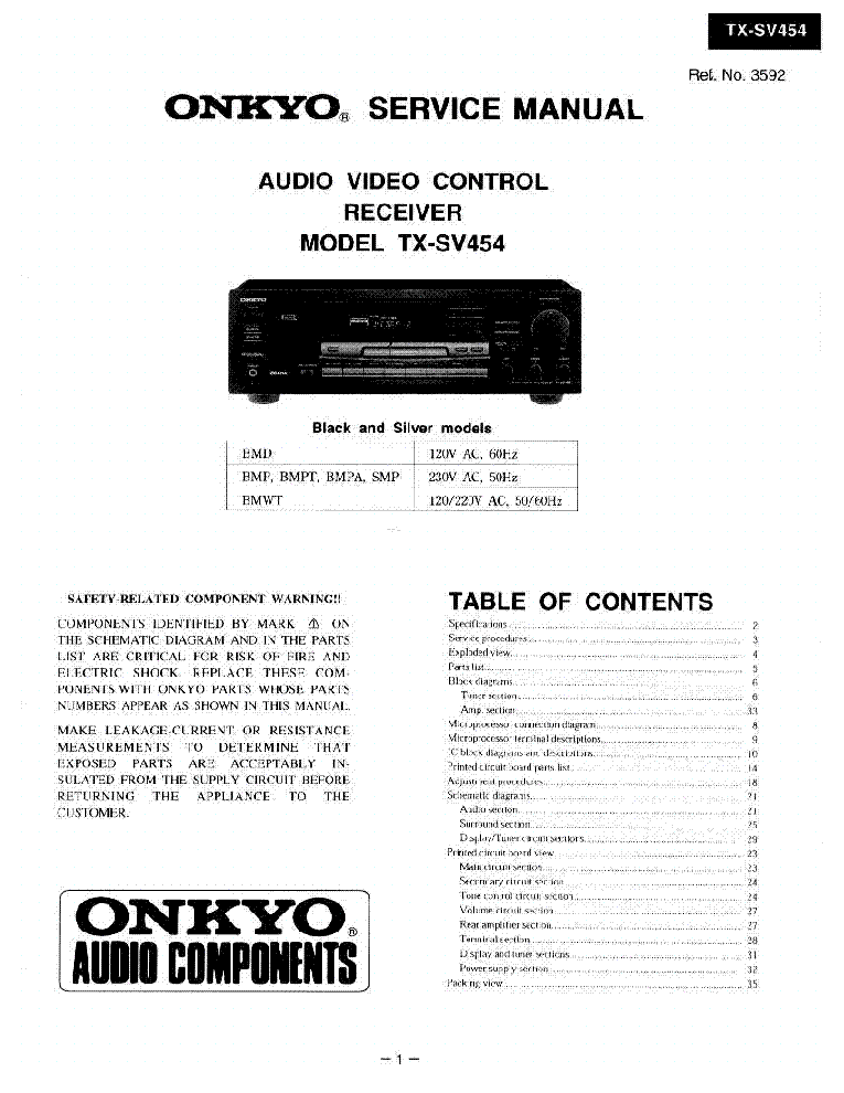 ONKYO TX-SV454 SM Service Manual download, schematics ... on