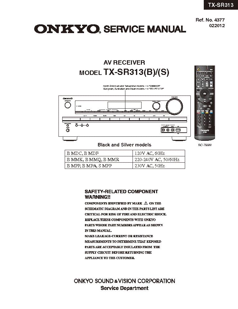 инструкция Onkyo Tx-sr313 - фото 2