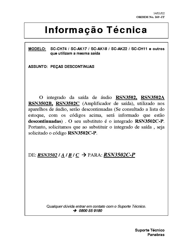 PANASONIC AUD169 SC-CH74