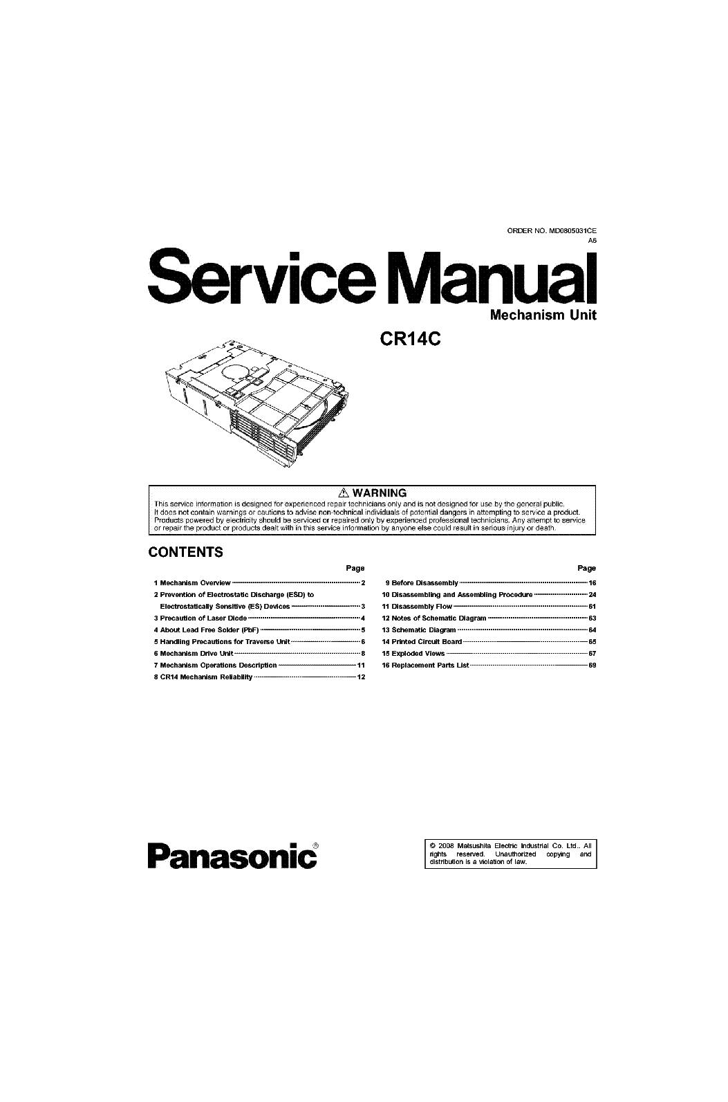 panasonic cr14c cd changer mechanism unit sm service manual download rh elektrotanya com panasonic 5 disc cd changer manual Panasonic CD Changer for Car