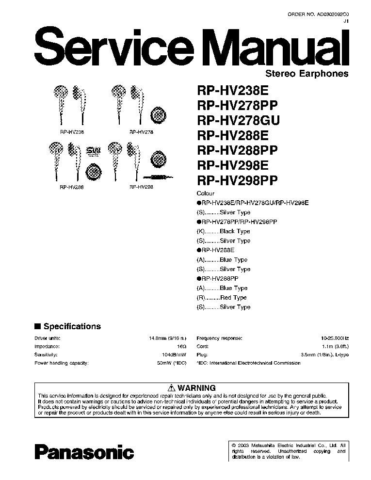 PANASONIC RP-HV238E RP-HV278