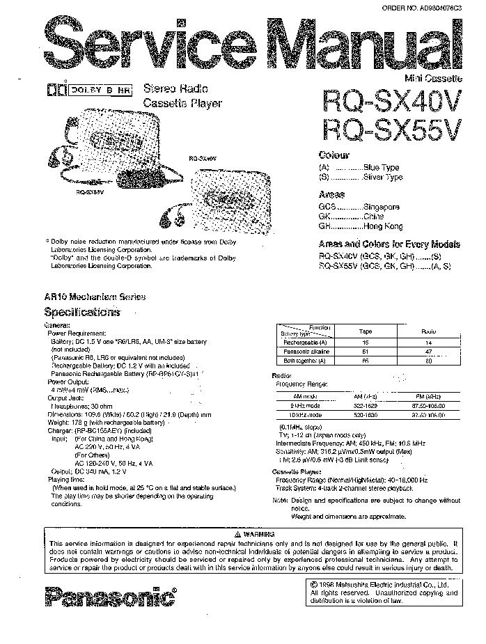 PANASONIC RQ-SX40V service