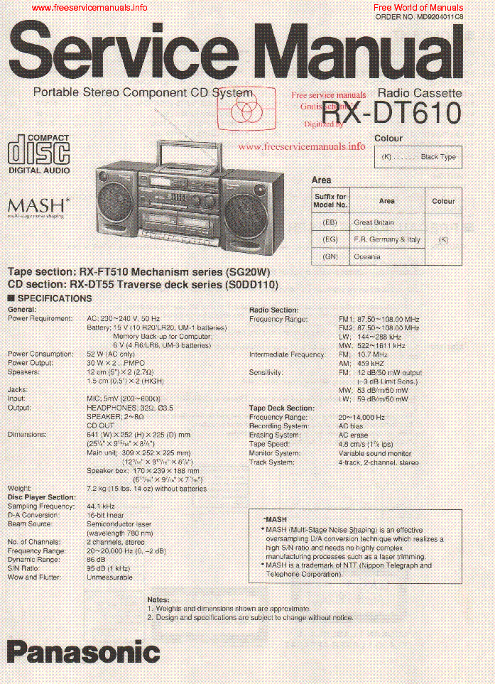 PANASONIC RX-DT610 service manual (1st page)