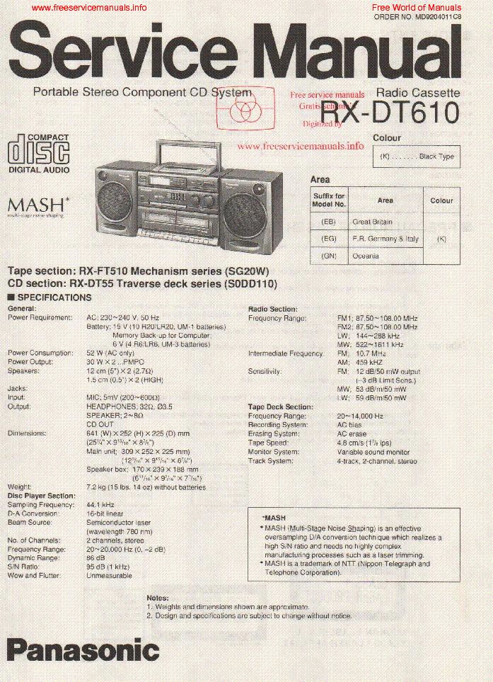 Panasonic rx-dt610 инструкция