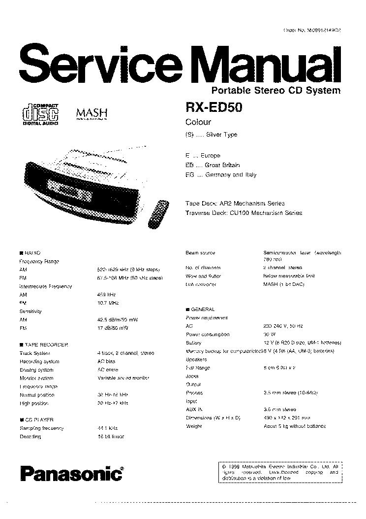 Panasonic Rx-Ed50 Инструкция