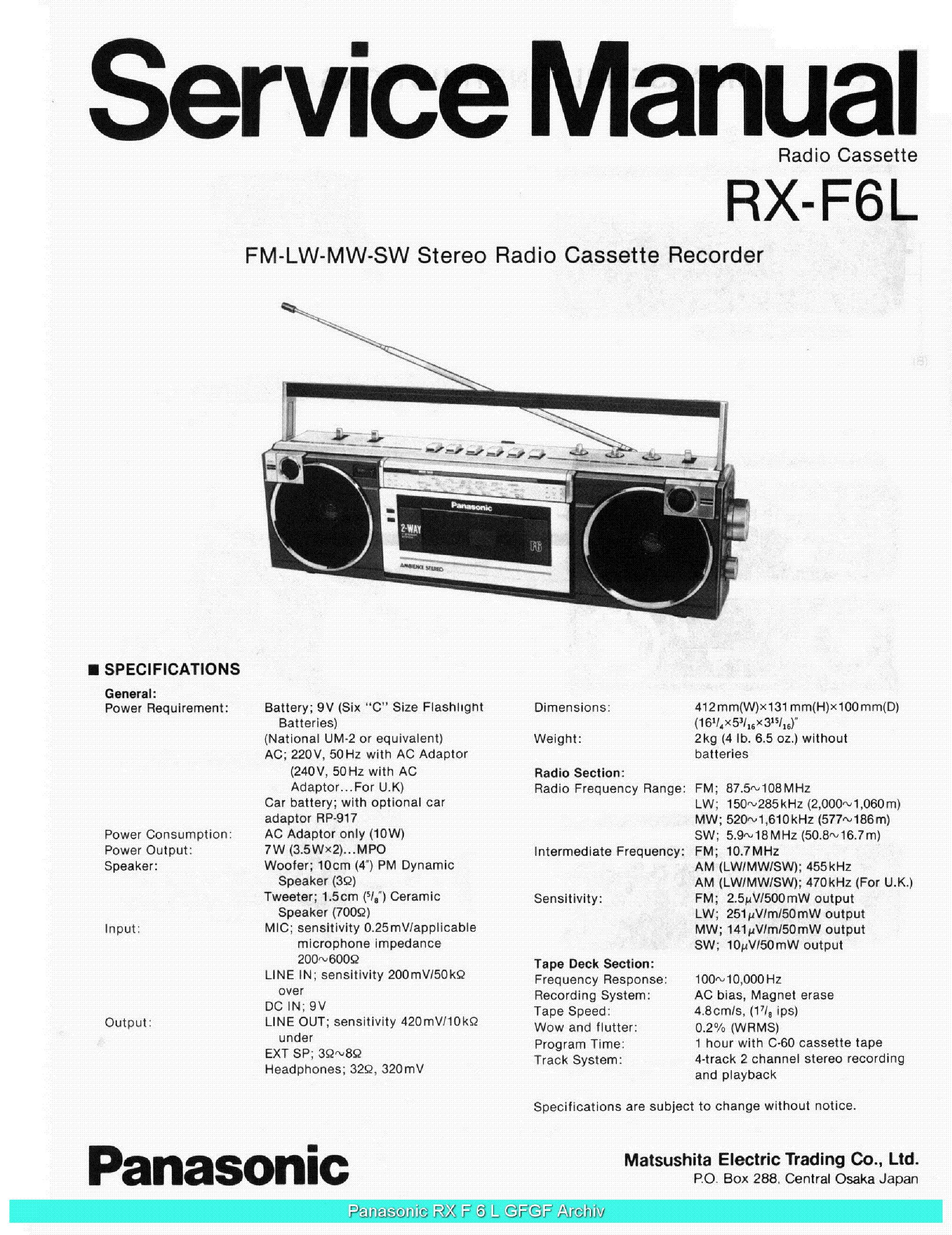 PANASONIC RXF6L SCH service manual (1st page)