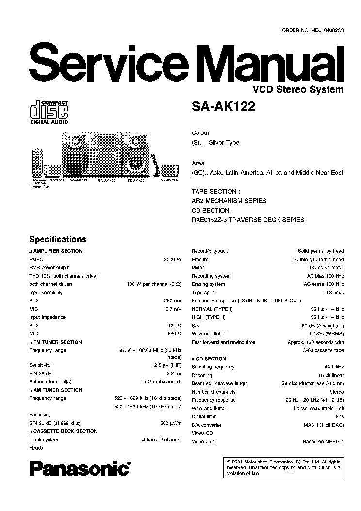 PANASONIC SA-AK120 AK122