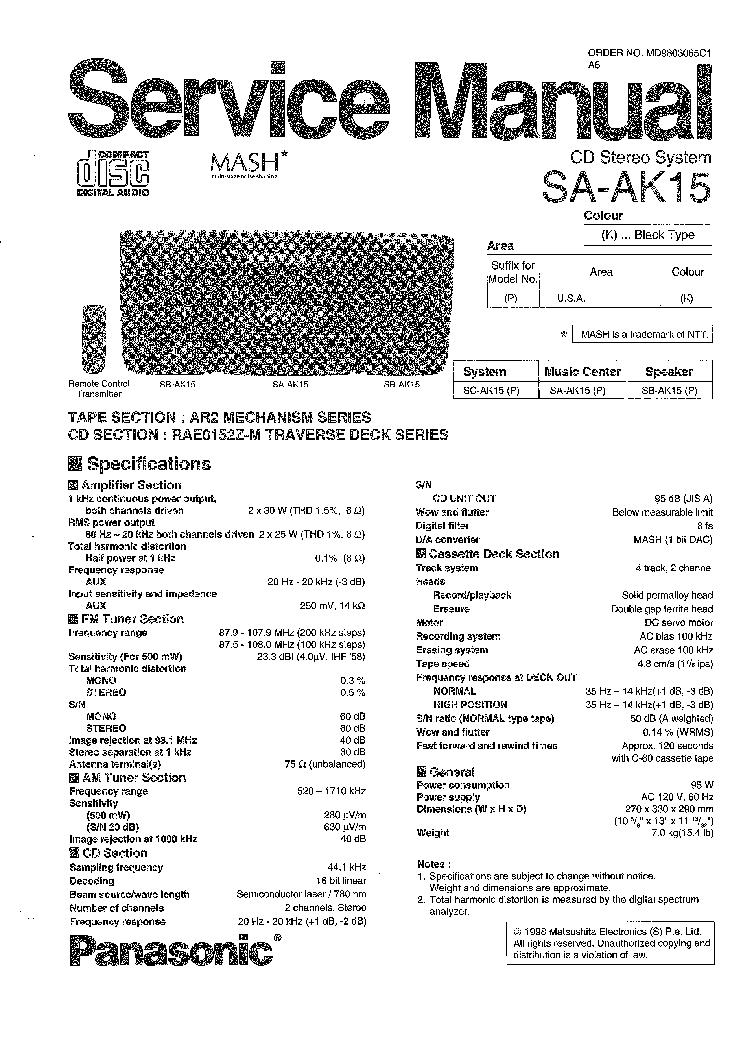 PANASONIC SA-AK15 SM service