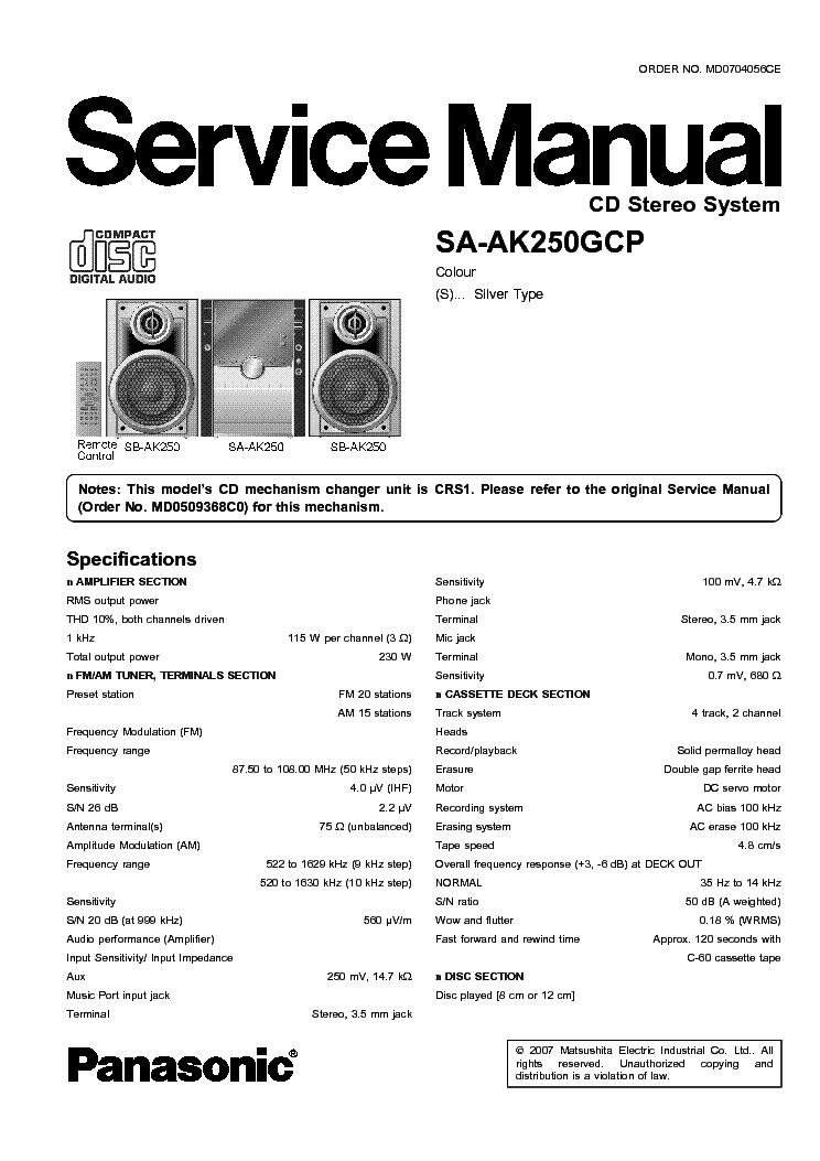 PANASONIC SA-AK250GCP