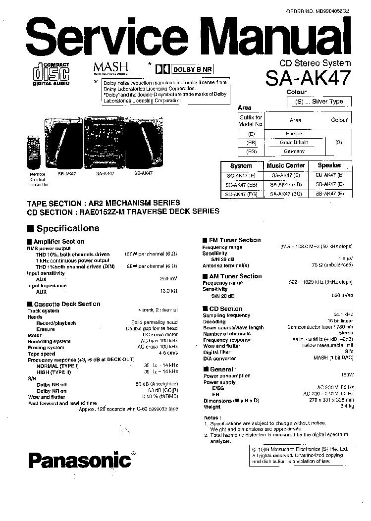 PANASONIC       SA   AK47 SM 4 Service Manual download  schematics