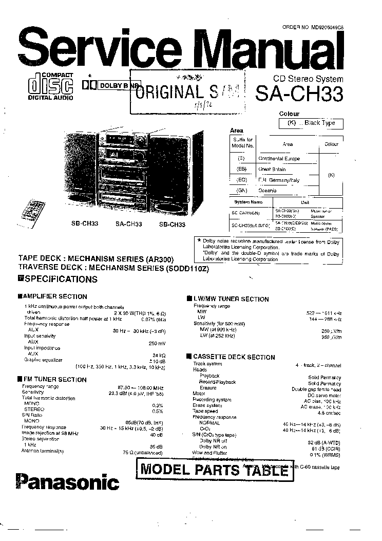 PANASONIC       SA   CH33 SM Service Manual download  schematics