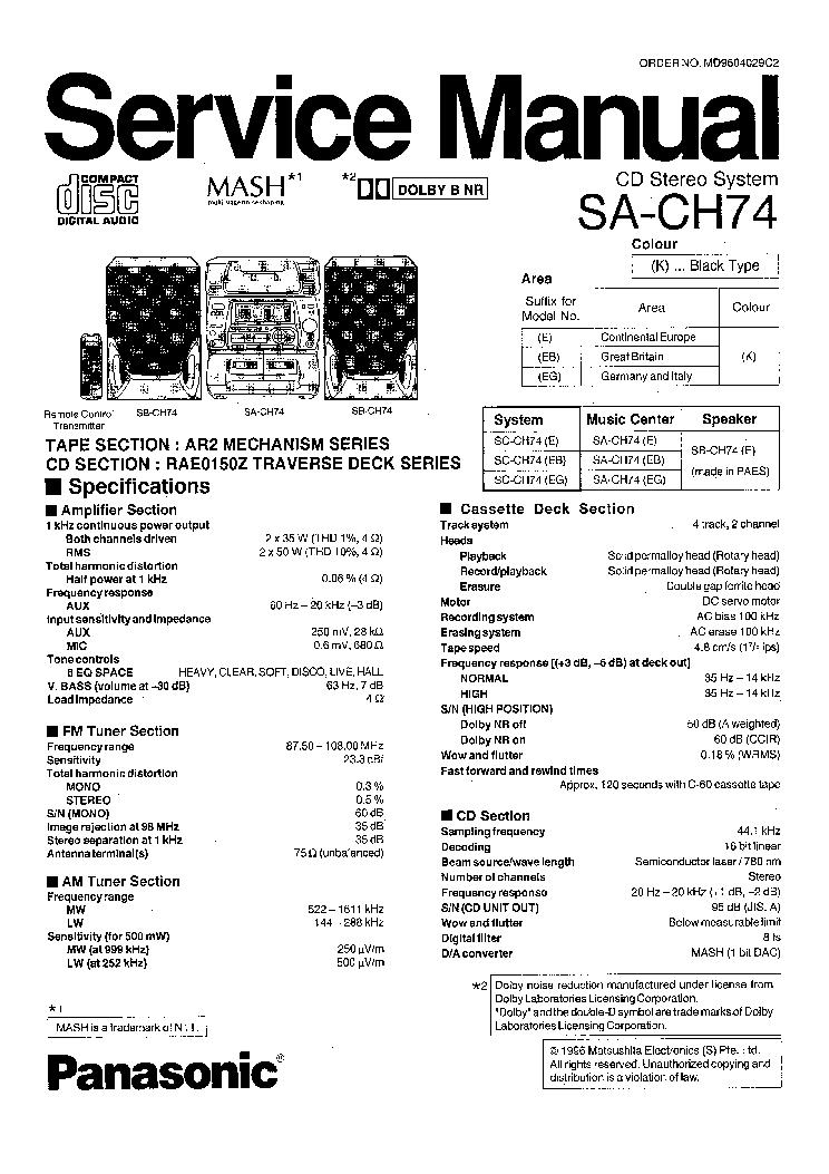 Panasonic Sa-Ak410 Инструкция