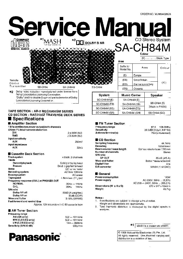 panasonic sa pm31 service manual