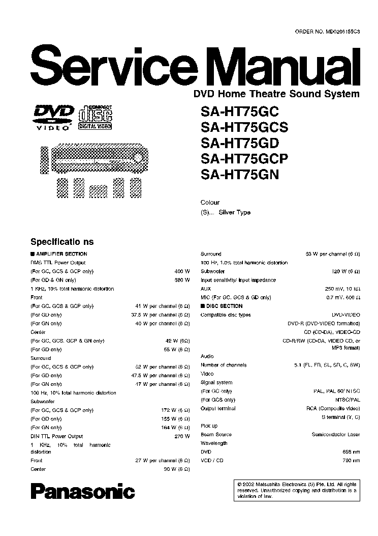 panasonic sa ht75g service manual download schematics eeprom rh elektrotanya com panasonic sc-ht75 service manual panasonic dvd home theater sound system sa-ht 75 manual