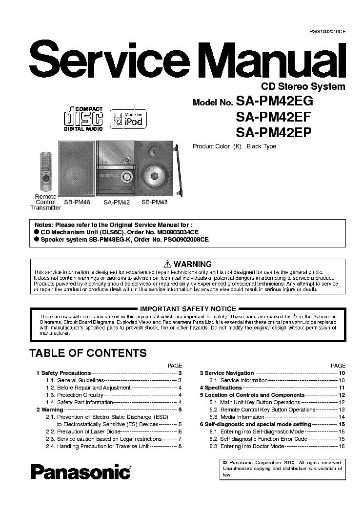 Panasonic SC-PM42 Manuals