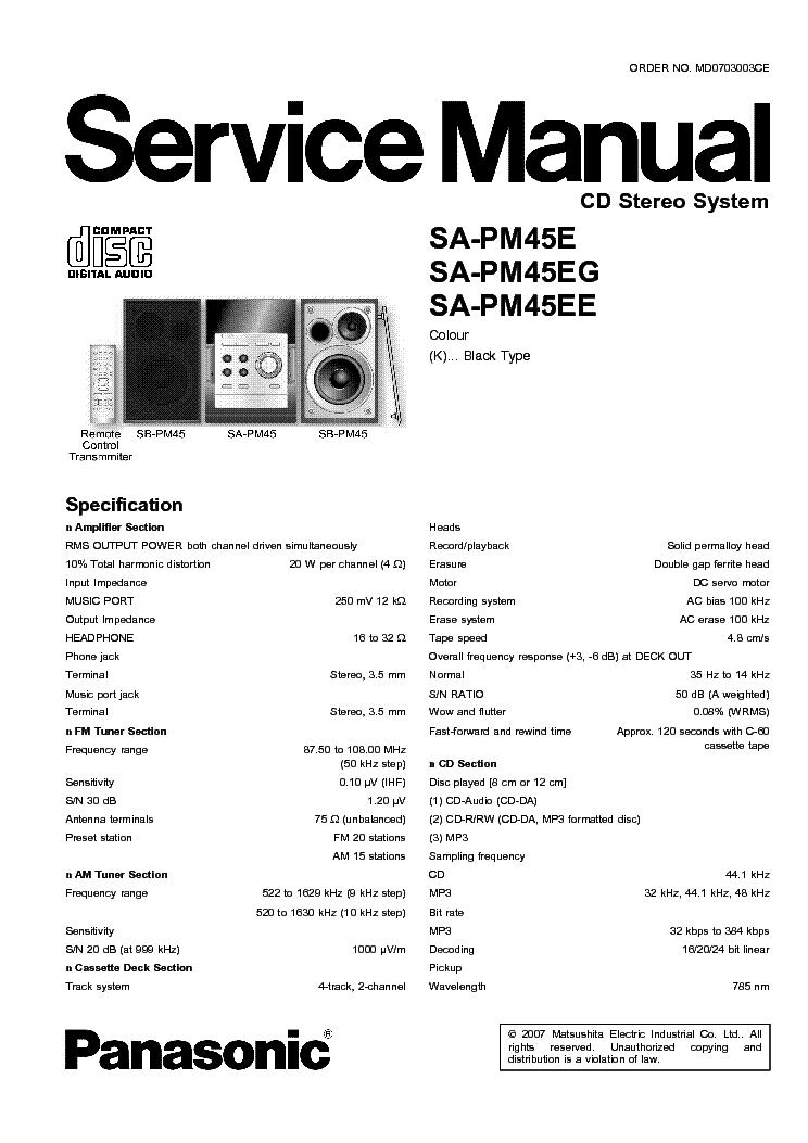 PANASONIC SA-PM45E service