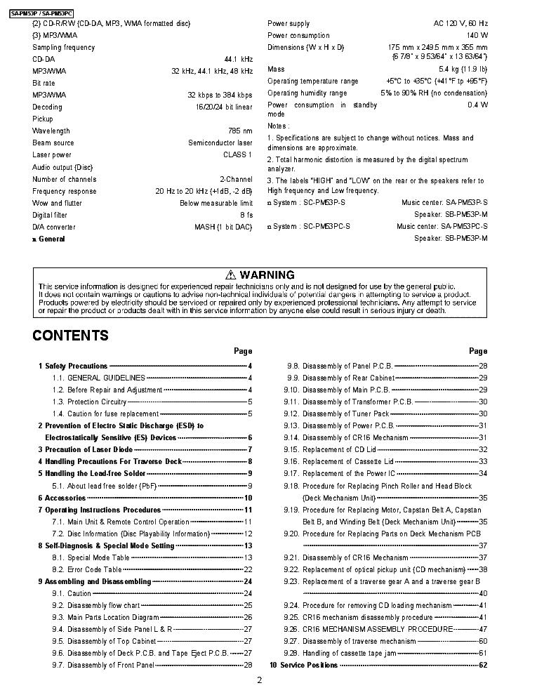 panasonic sa pm 500 manual
