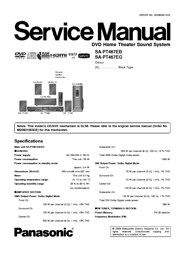 PANASONIC SA-PT467 service manual
