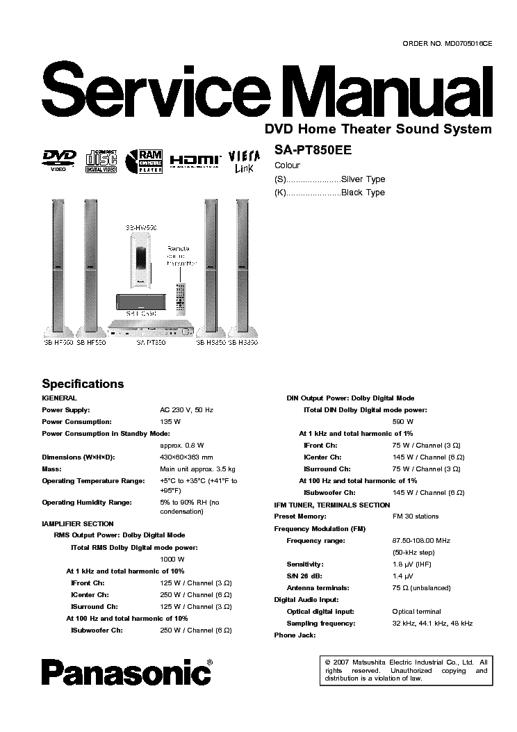 Handleiding panasonic sc pt850 (pagina 1 van 52) (english).