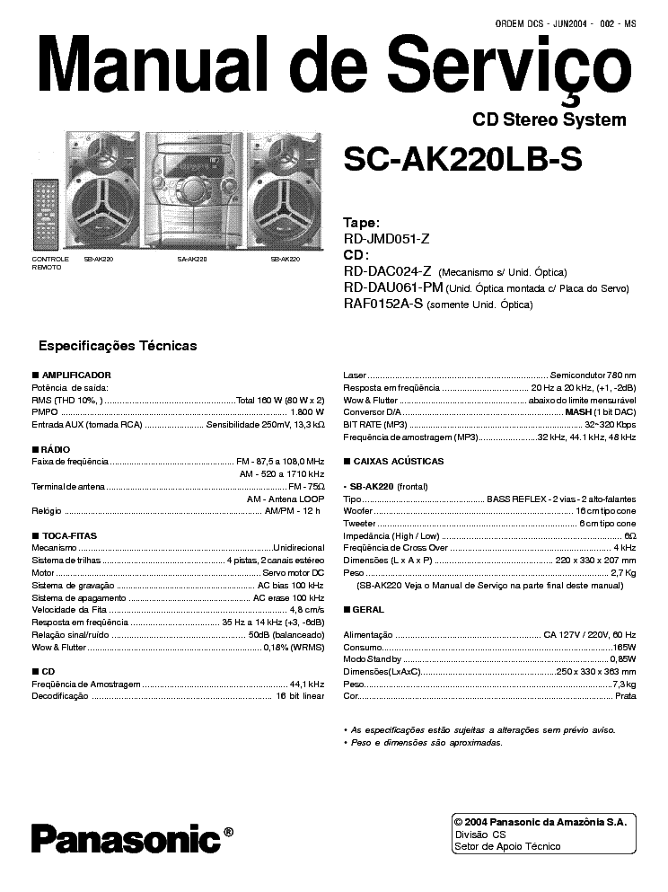 PANASONIC SA AK220LB S