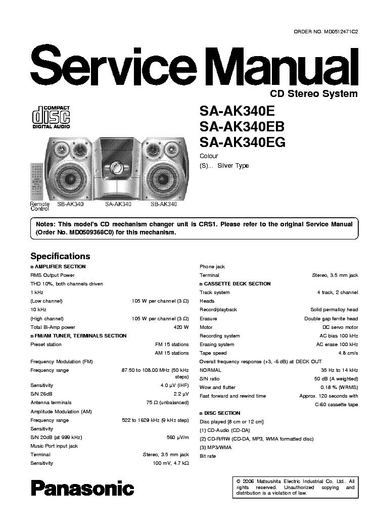 PANASONIC SA AK340E