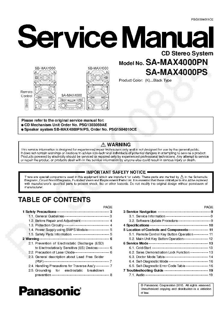 PANASONIC SA MAX4000 Service Manual download, schematics
