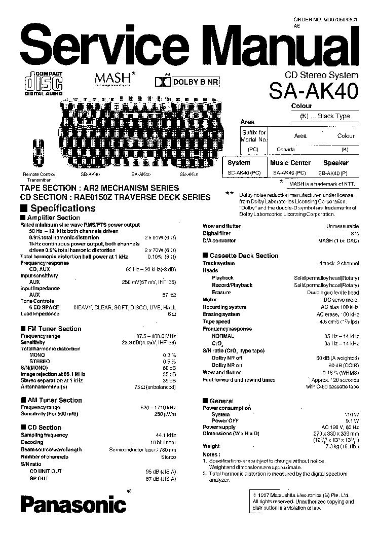 PANASONIC SAAK40 service