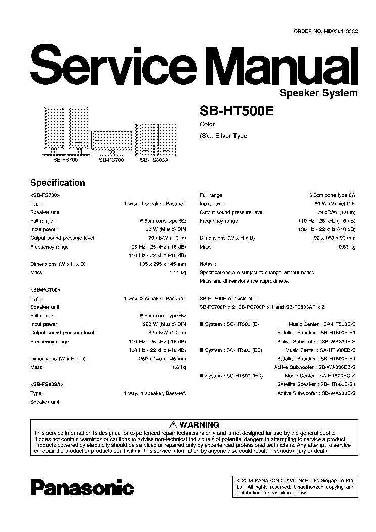 PANASONIC SB-HT500E Service Manual download, schematics, eeprom