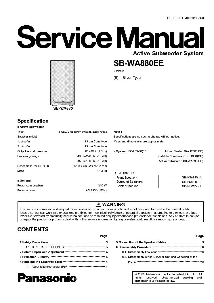 PANASONIC SB-WA880EE Service Manual download, schematics ... on