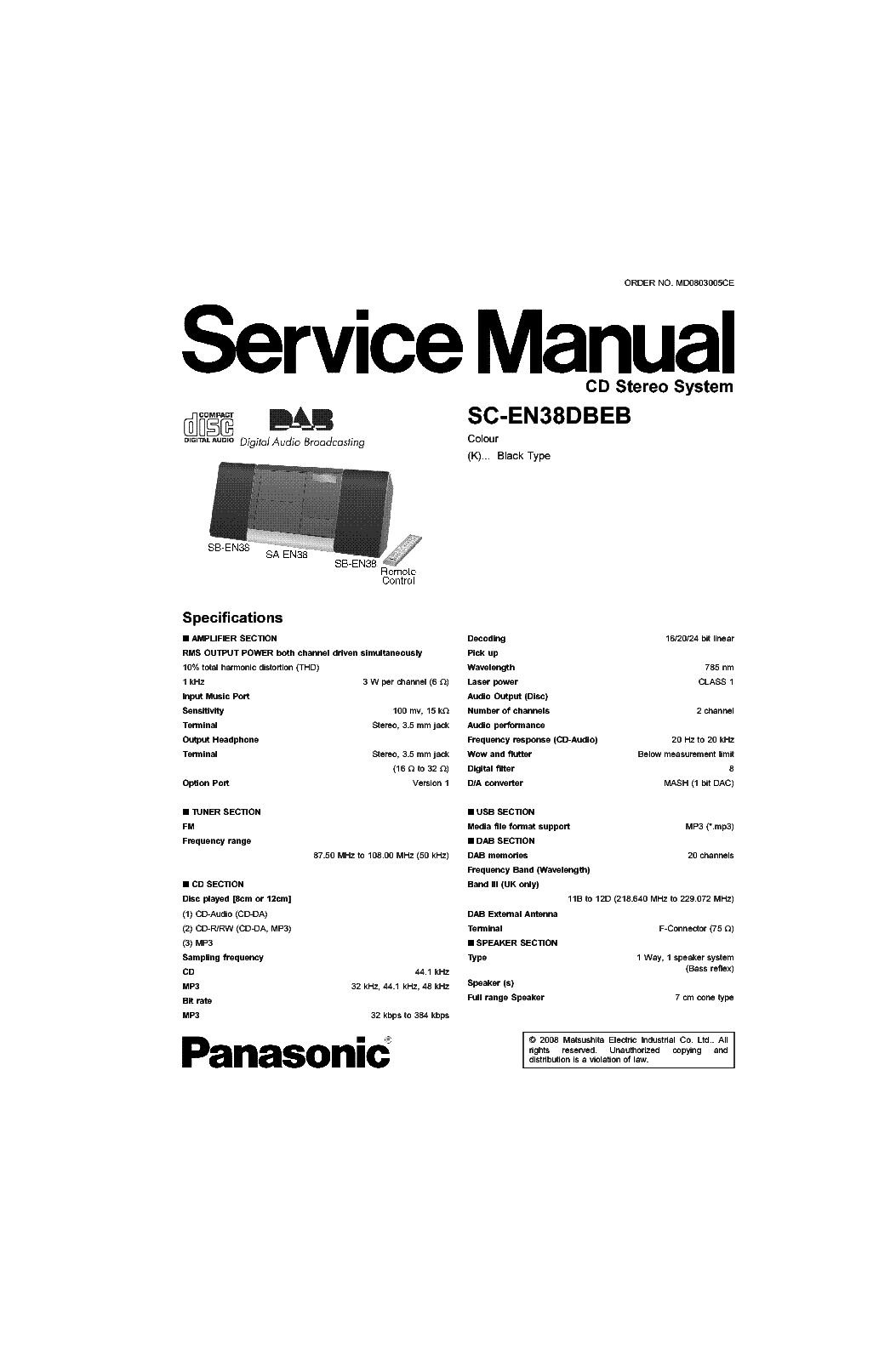 PANASONIC SC-EN38DBEB