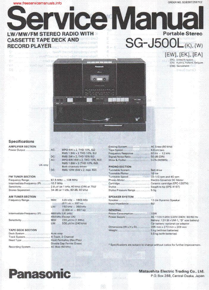 PANASONIC SG-J500L