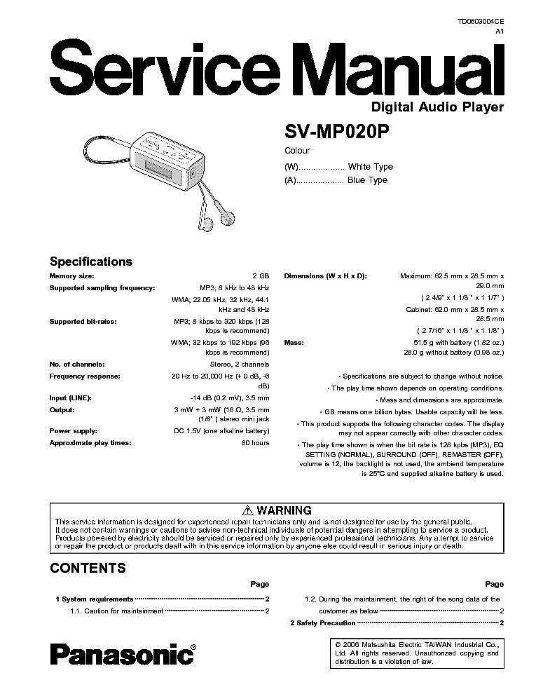 PANASONIC SV-MP020P SM