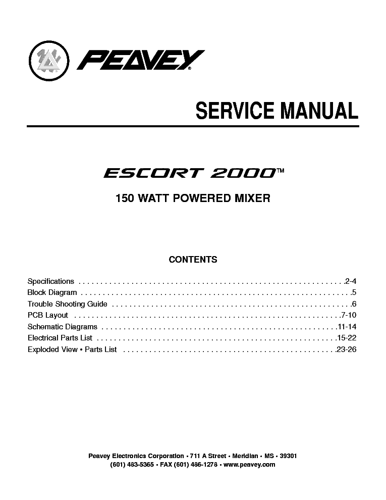 PEAVEY ELECTRONICS ESCORT 2000 150W-4X-CHANNEL POWERED MIXER SM service manual