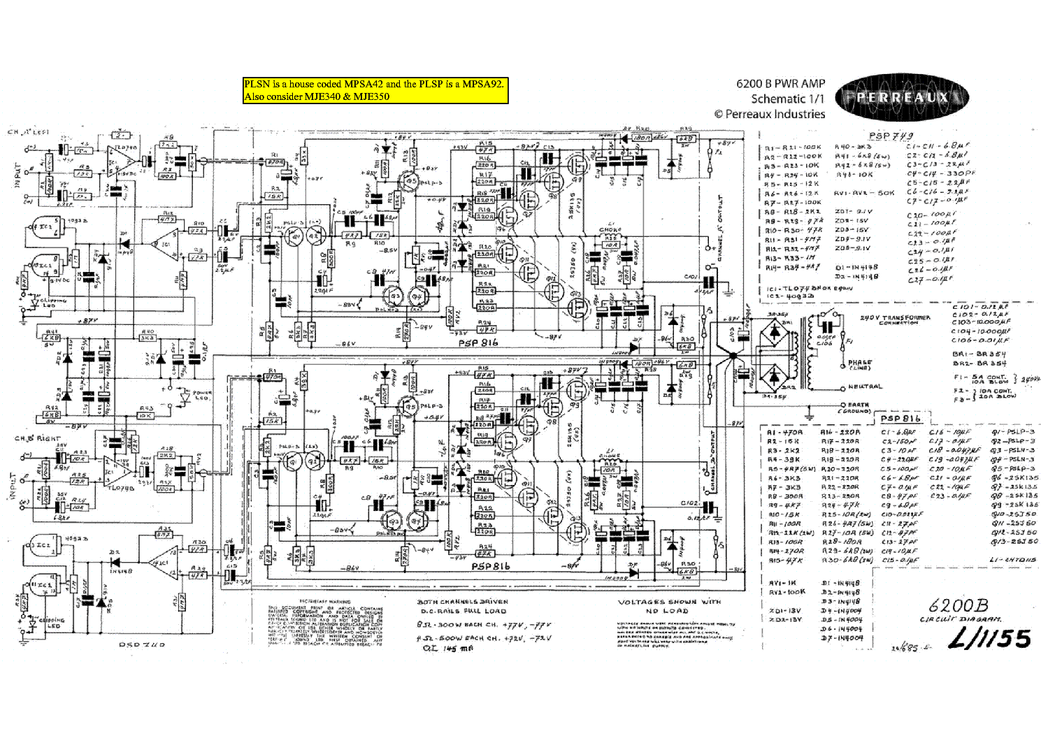 perreaux 6200b sch service manual download  schematics