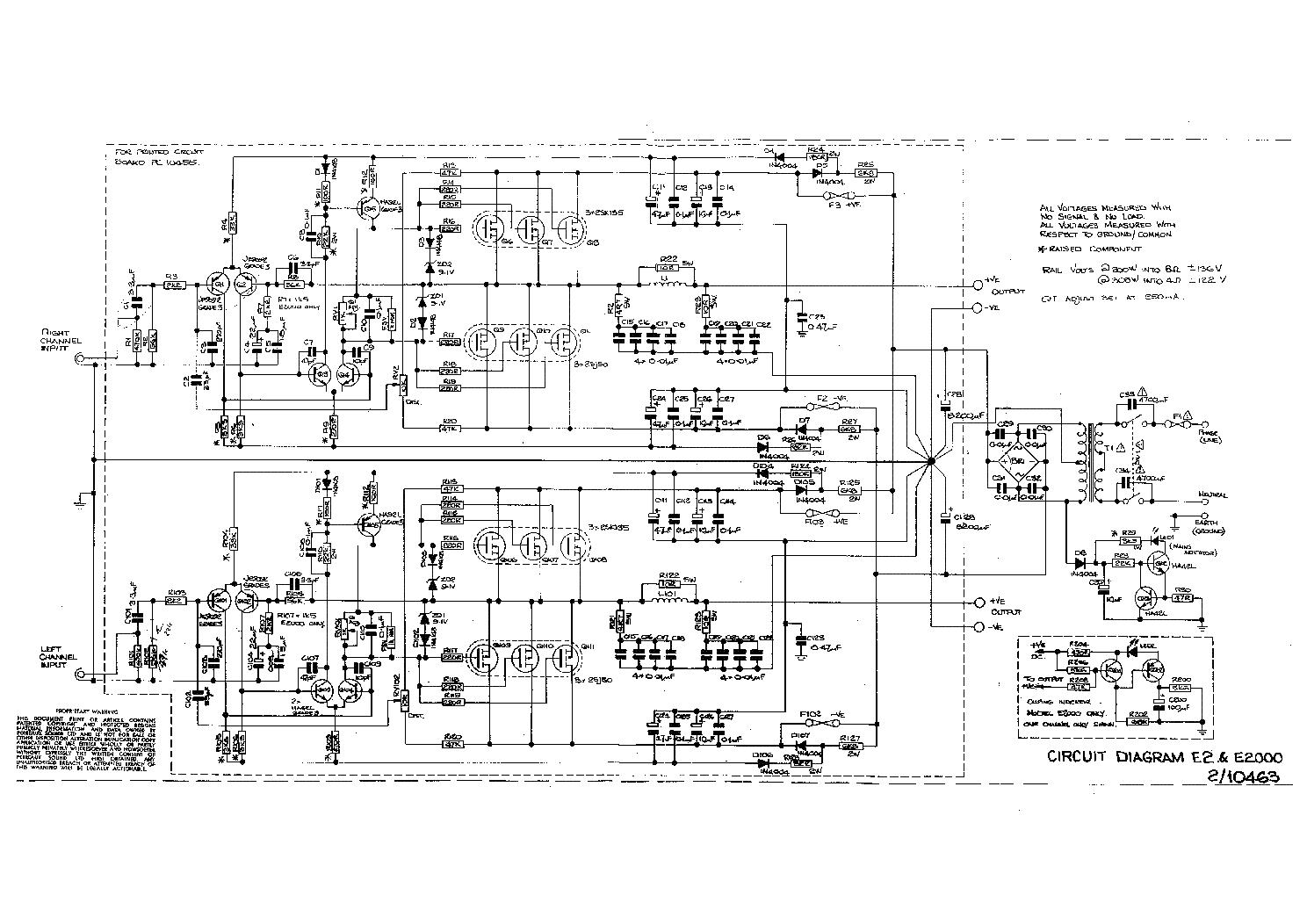 Perreaux E2 Amplifier Schematics Service Manual Download Schematic 1st Page