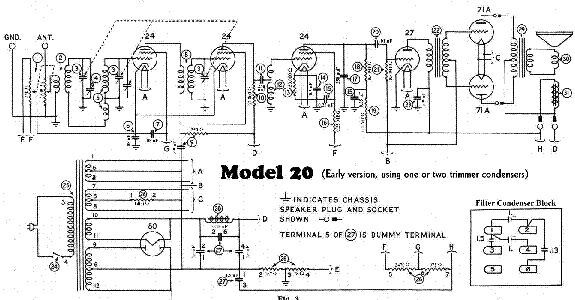PHILCO MODEL 20A RADIO SCHEMATIC Service Manual download, schematics ...