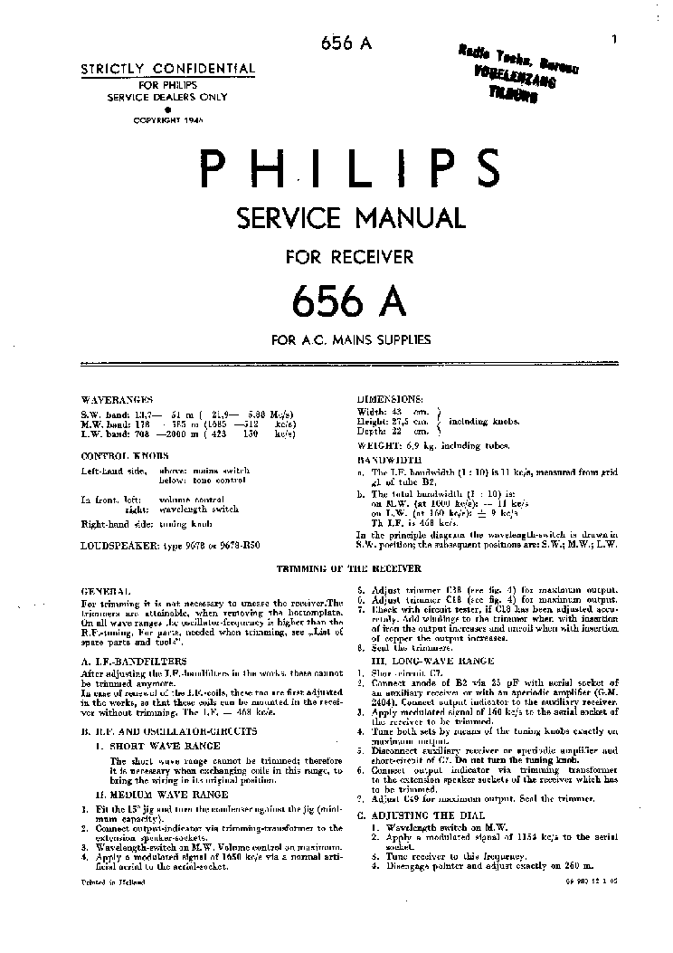 PHILIPS 656A service manual (1st page)