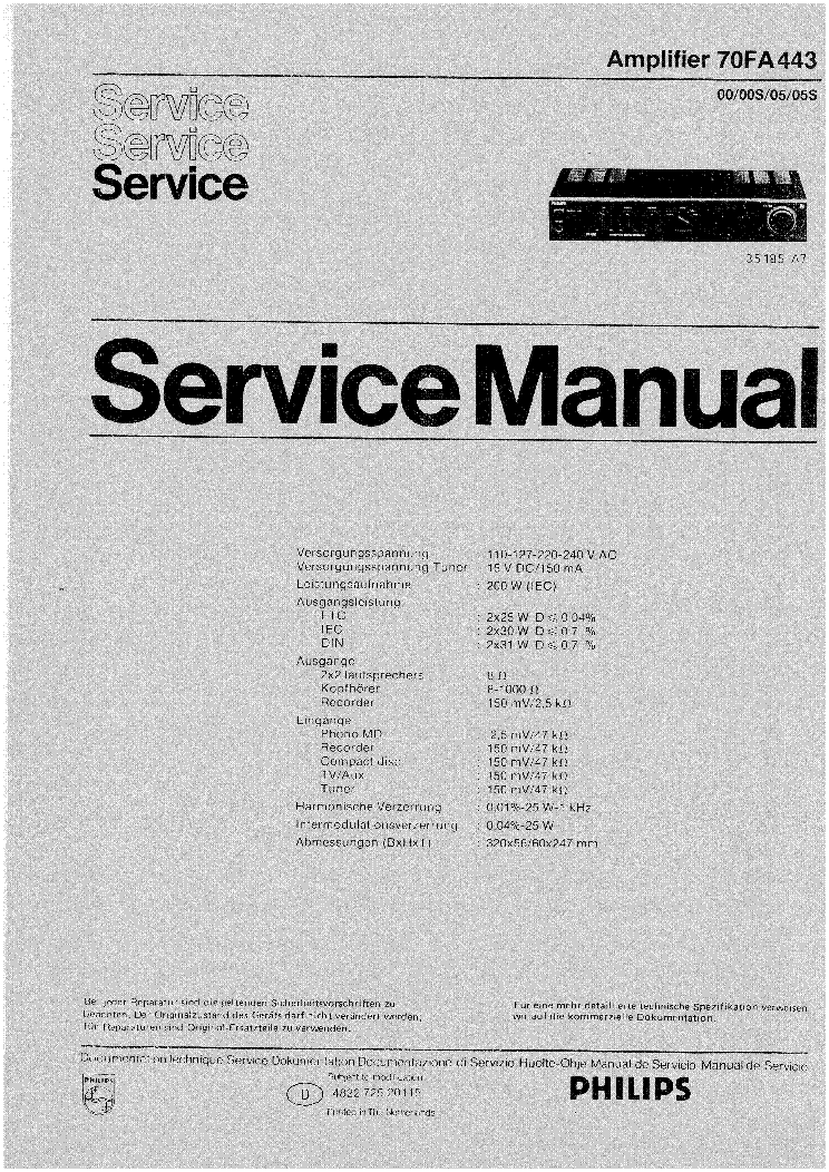 PHILIPS 70FA443 SM service manual (1st page)