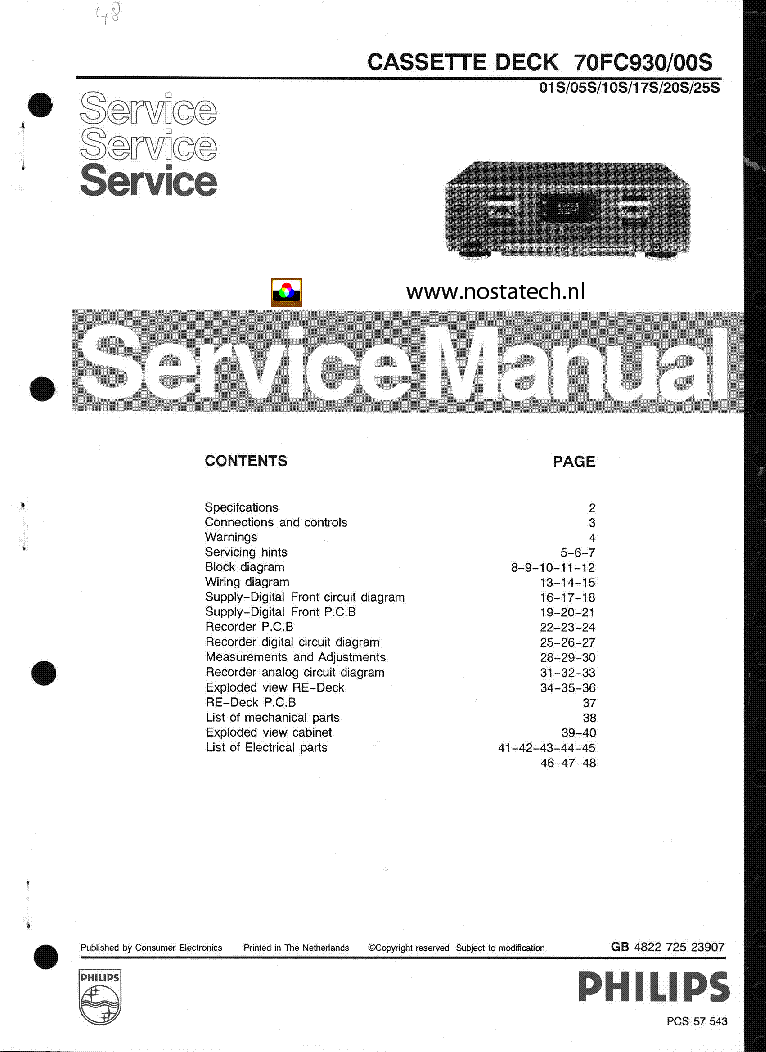 philips 70fc930 cassette deck service manual service manual download rh elektrotanya com philips service manual tv philips service manuals