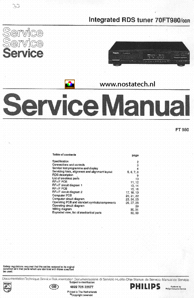 philips 70ft980 00r integrated rds tuner sm service manual download rh elektrotanya com Philips 22PFL3504D F7 Manual Philips Television Troubleshooting